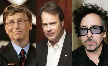 Bill Gates, Dan Aykroyd y Tim Burton