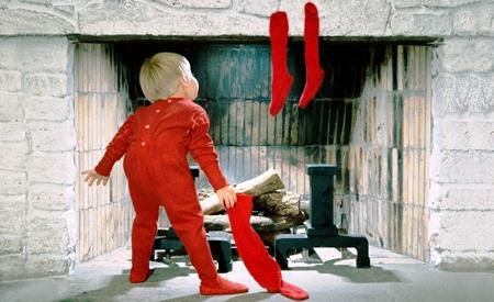 Calcetines en la chimenea