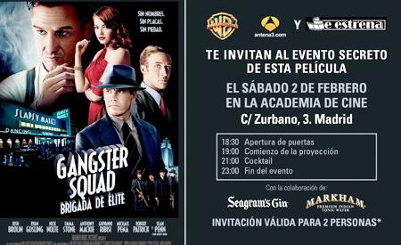 """Invitación evento """"Gangster Squad (Brigada de élite)"""""""