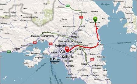 Recorrido entre Maratón y Atenas