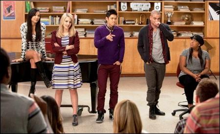 Santana, Quinn, Mike, Puck y Mercedes
