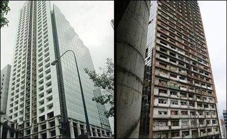 Torre de David, izquierda en 1994, derecha en la actualidad