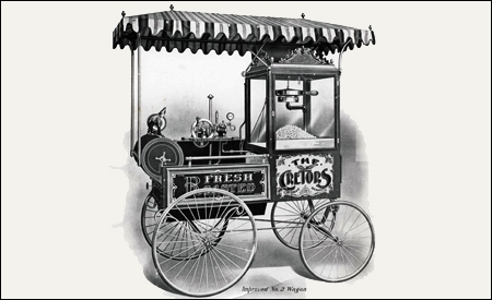 Máquina de palomitas ambulante de 1880