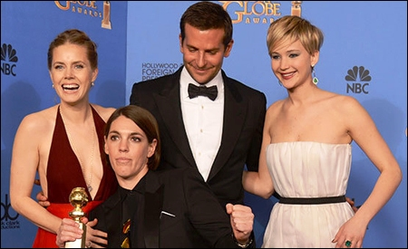 Amy Adams, Bradley Cooper, Jennifer Lawrence y Megan Ellison