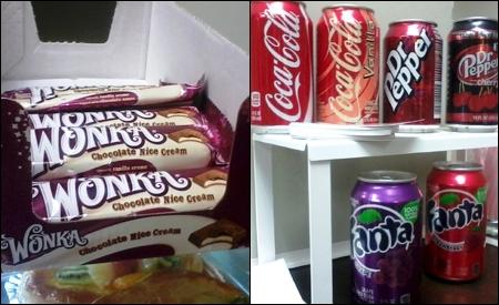 Chocolatinas y refrescos de importación