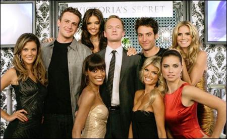 Marshall, Barney y Ted con las super modelos