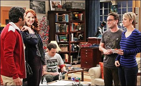 Raj, Emily, Sheldon, Leonard y Penny